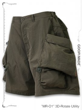 """<strong>GOOPiMADE</strong>""""MR-01"""" 3D-Rotate Utility Shorts<br>OLIVE (EARTH BROWN)"""