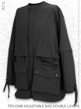 <strong>ARCHIVAL REINVENT</strong>TEFLON® ADJUSTABLE BAG DOUBLE LAYERS SHIRT<br>BLACK
