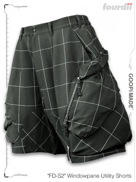 """<strong>GOOPiMADE x 4DIMENSION</strong>""""FD-S2"""" Windowpane Utility Shorts<br>GRAY"""