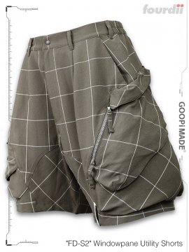 """<strong>GOOPiMADE x 4DIMENSION</strong>""""FD-S2"""" Windowpane Utility Shorts<br>SAND"""