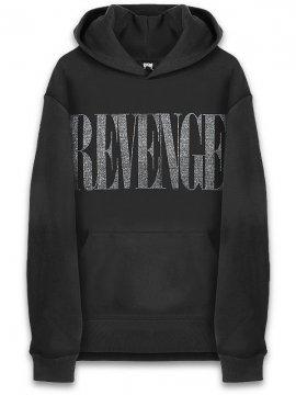 <strong>REVENGE GALLERY</strong>NIRVANA RHINESTONE BLACK SWEAT HOODIE<br>BLACK