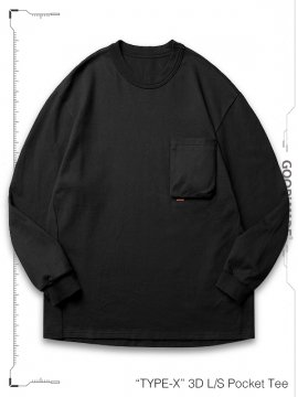 """<strong>GOOPiMADE</strong>""""TYPE-X"""" 3D L/S Pocket Tee<br>BLACK"""