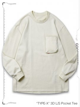 """<strong>GOOPiMADE</strong>""""TYPE-X"""" 3D L/S Pocket Tee<br>CREAM"""