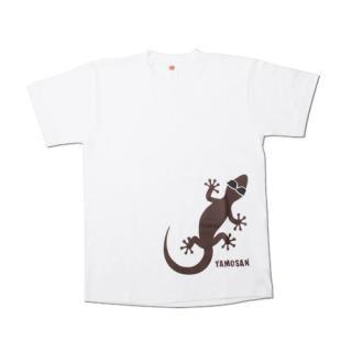 ヤモさんTシャツ(前1匹 白×ブラウン)