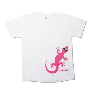 ヤモさんTシャツ(前1匹 白×ピンク)