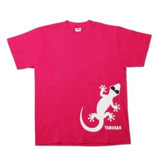 ヤモさんTシャツ(前1匹 ピンク×白)