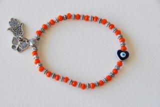 ハート型お守り付き細身ブレスレット(オレンジ)