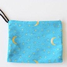 ポーチ・大(月と星・トルコブルー25�×19�)