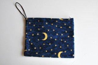 ポーチ・大(月と星・ネイビーブルー25�×19�)