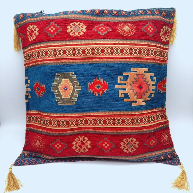 Cushion cover クッションカバー_Kilim Blue&Red