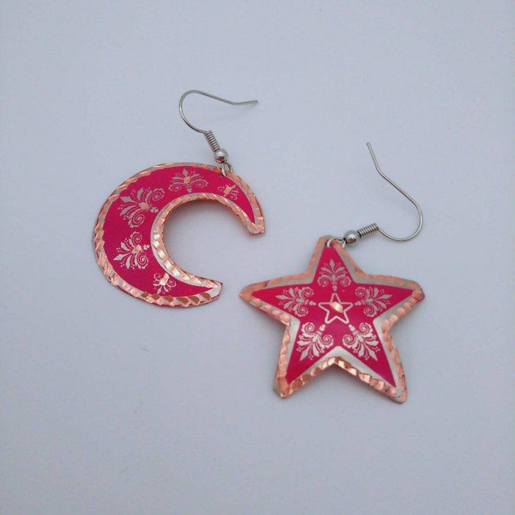 Copper ピアス<br>トルコ国旗 Pink×Silver