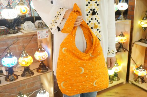 テキスタイルショルダーバック(オレンジ・トルコ国旗柄)