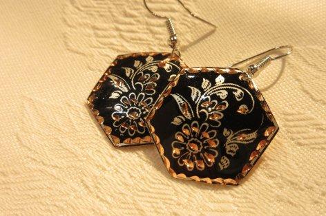 Copper ピアス<br>ヘキサゴン型 Black