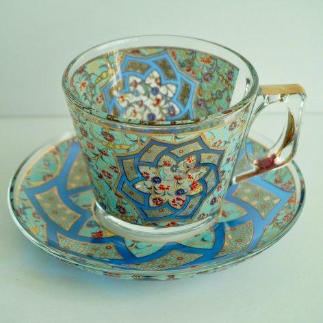 カップ&ソーサー(PASABAHCE)<br>Carnation Turquoise Blue