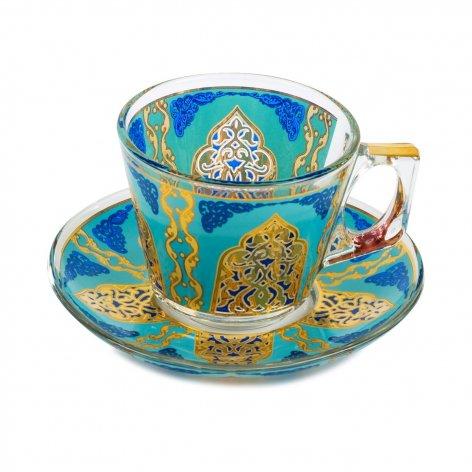 カップ&ソーサー(PASABAHCE)<br>Suidou Turquoise Blue