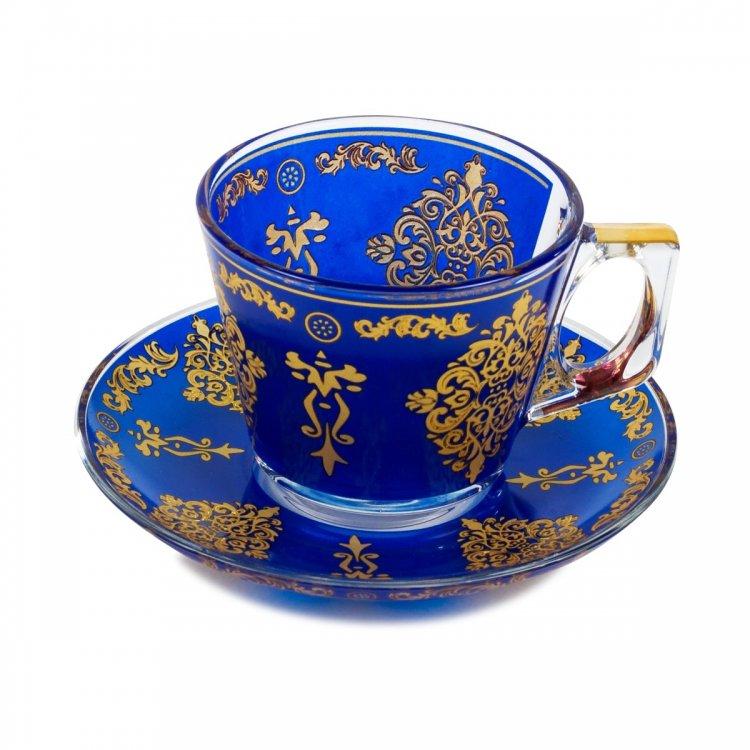 カップ&ソーサー パシャバチェ (PASABAHCE)_Flower Crest Royal Blue
