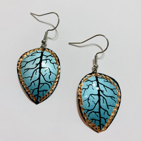 Copper ピアス<br>Leaf Blue