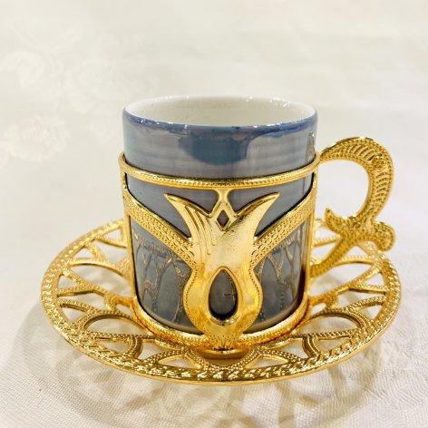 デミタスカップ&ソーサー<br>Gold Tulip Blue