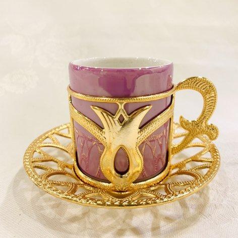 デミタスカップ&ソーサー<br>Gold Tulip Pink Purple