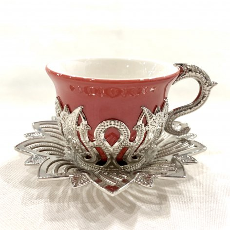 デミタスカップ&ソーサー<br>Silver Tulip Red