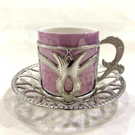 デミタスカップ&ソーサー<br>Silver Tulip Pink Purple