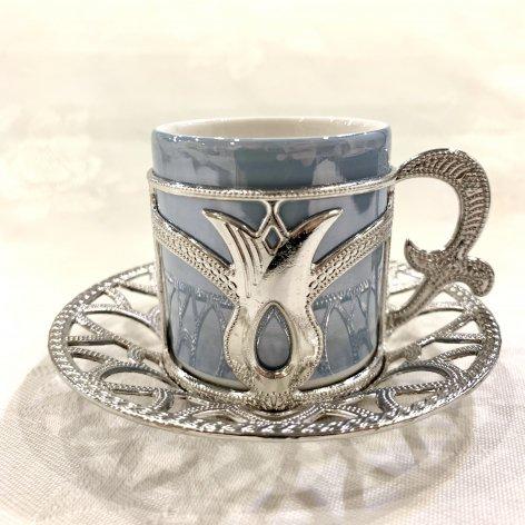 デミタスカップ&ソーサー<br>Silver Tulip Light Blue