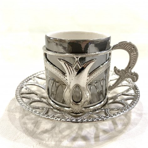 デミタスカップ&ソーサー<br>Silver Tulip Gray