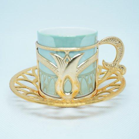 デミタスカップ&ソーサー<br>Gold Tulip Mint Green