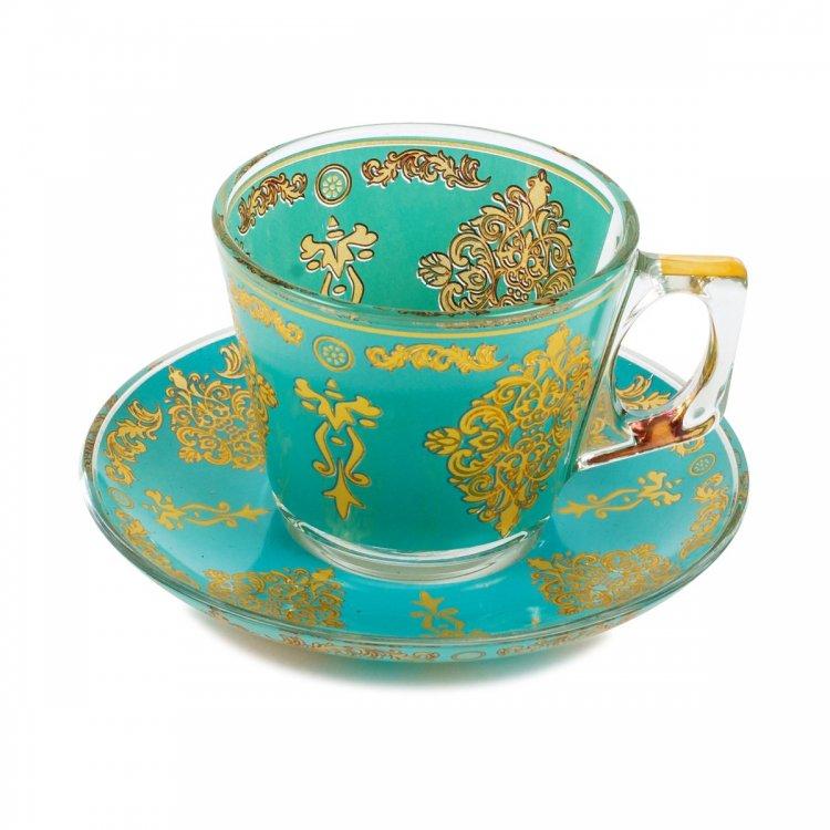 カップ&ソーサー パシャバチェ (PASABAHCE)_Flower Crest Turquoise