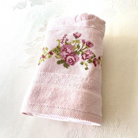 ローズ刺繍コットンタオル<br>ピンク
