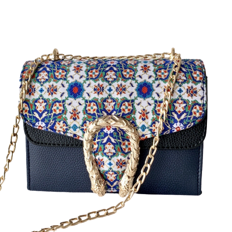 イスラム柄2Way Chain Bag<br>Tulip Buckle(S) Blue