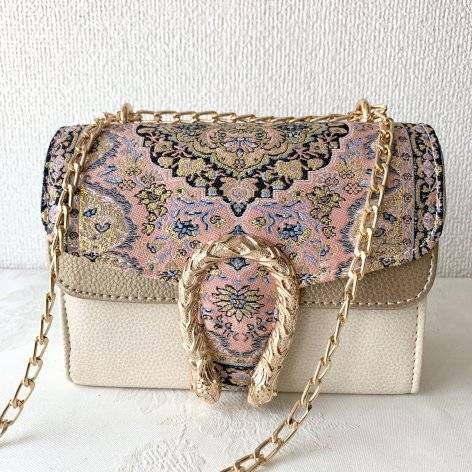 イスラム柄2Way Chain Bag<br>Tulip Buckle(S) Pink