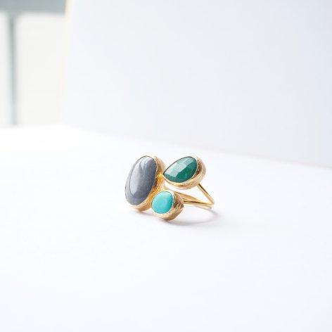 トルコ 天然石リング<br>3stone Green・Gray・Turquoise