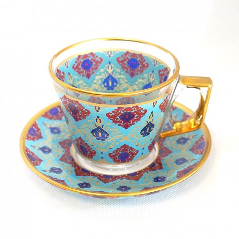 カップ&ソーサー(PASABAHCE)<br>Damask Turquoise Blue