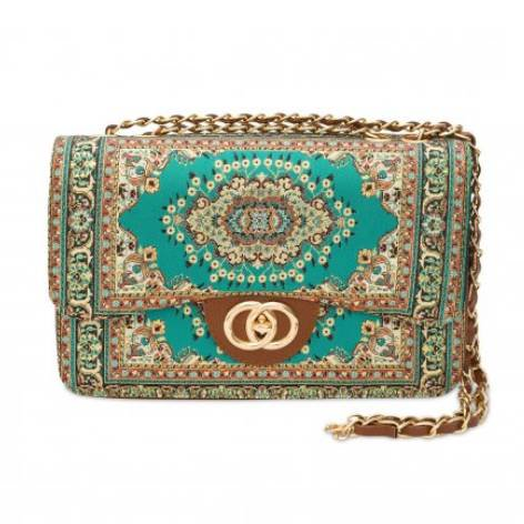イスラム柄2Way Bag<br>Elegant Green×Orange