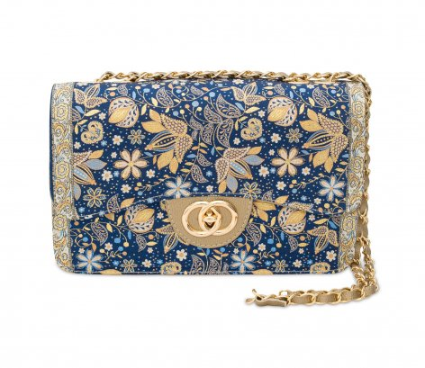 イスラム柄2Way Bag<br>Elegant Flower Navy