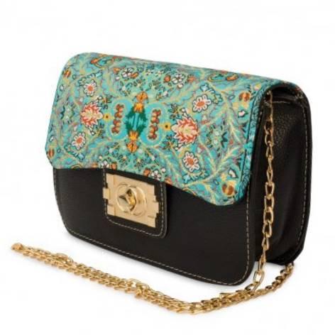 イスラム柄 Chain Bag<br>Square(M) Black Turquoise blue