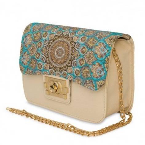 イスラム柄 Chain Bag<br>Square(M) White Turquoise Blue