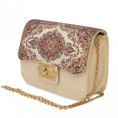 イスラム柄Chain Bag<br>Square(M) White×Beige