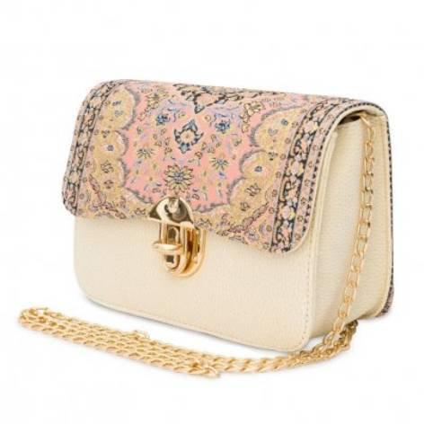 イスラム柄Chain Bag<br>White×Pink