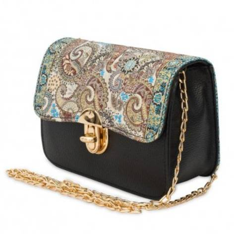 イスラム柄Chain Bag<br>Black×Blue Beige