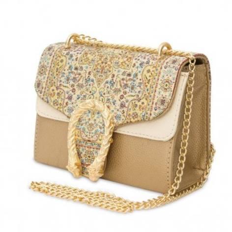 イスラム柄2Way Chain Bag<br>Tulip Buckle(S) Gold×Cream