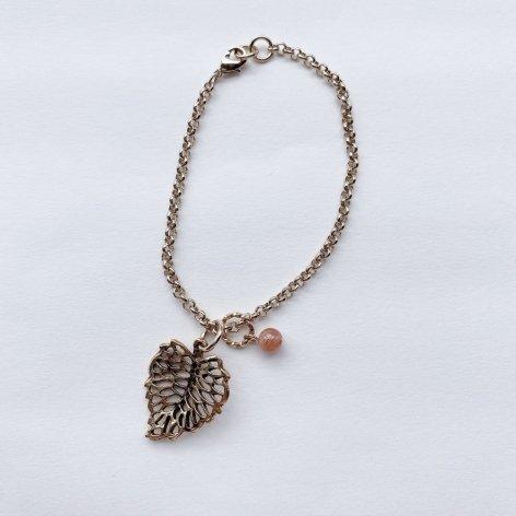 天然石ブレスレット<br>Leaf Inca Rose