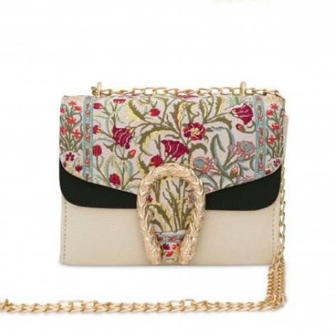 イスラム柄 2Way Chain Bag<br>Tulip Buckle(S) Flower Black White