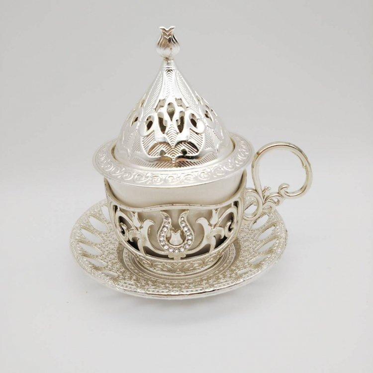 デミタスカップ&ソーサー<br>シュガーケース蓋付<br>Silver