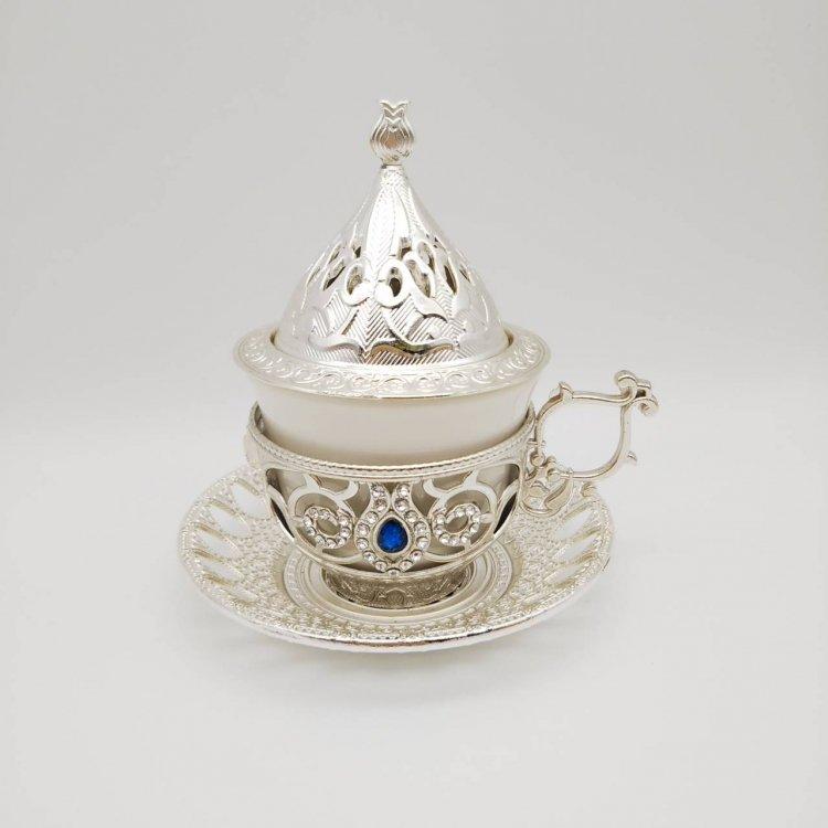デミタスカップ&ソーサー<br>シュガーケース蓋付<br>Silver×RB