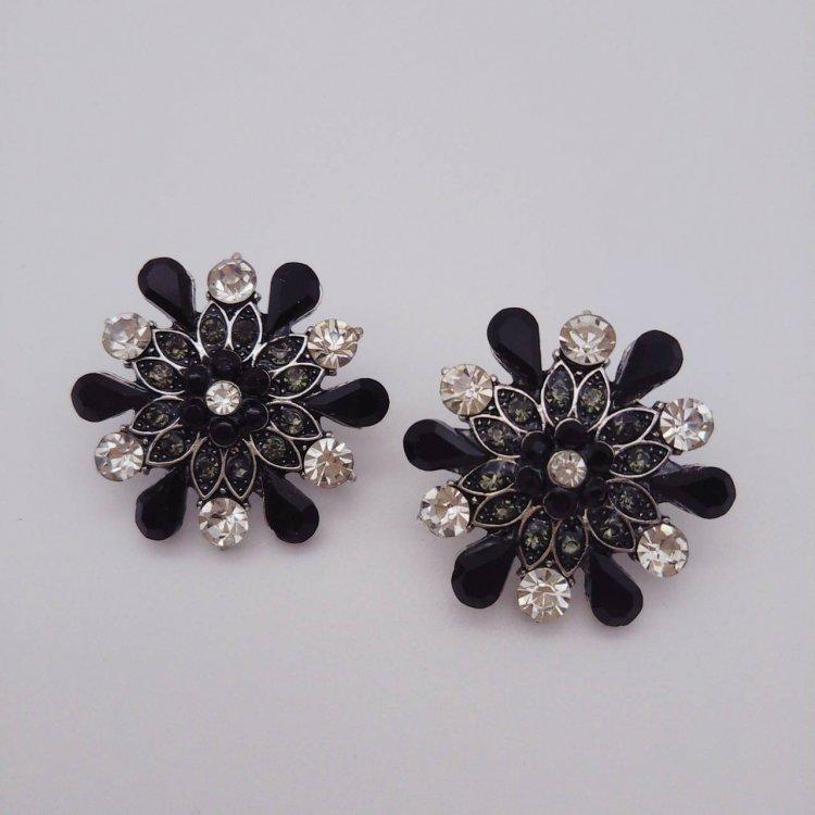 ピアス<br>Flower Black&Silver