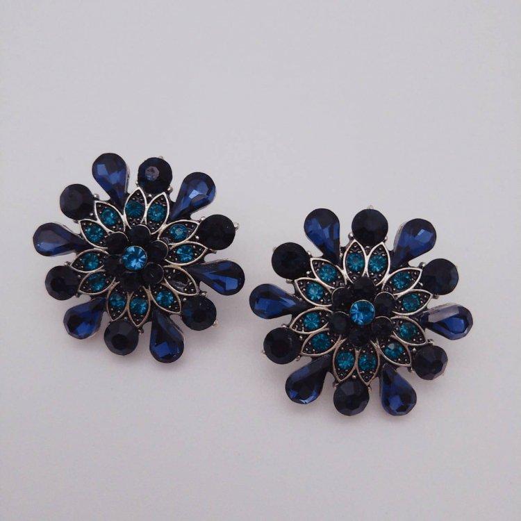 ピアス<br>Flower Black&Blue