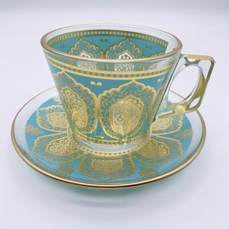 カップ&ソーサー(PASABAHCE)<br>Tile Mint Gold
