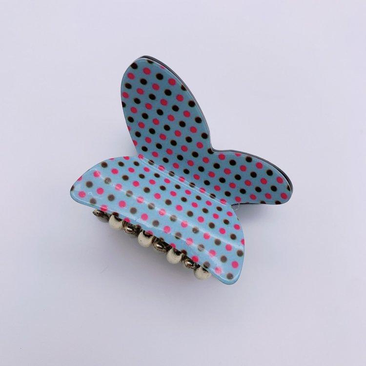 バンス クリップ ミニ<br>Dot Butterfly Light Blue